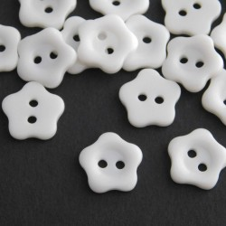 12mm Resin Flower Buttons - White - Pack of 25