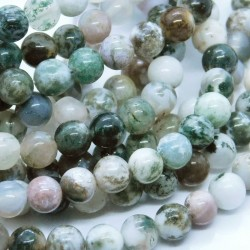 6mm Tree Agate Beads - Strand of 58 Beads