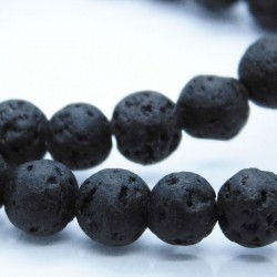 6mm Lava Stone Round Beads - Black - Strand of 60 Beads