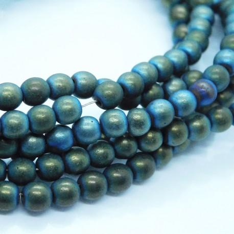 4mm Blue Green Round Hematite Beads - 40cm strand