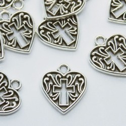 16mm Heart with Cross Filigree Charm - Antique Silver Tone - Pack of 6