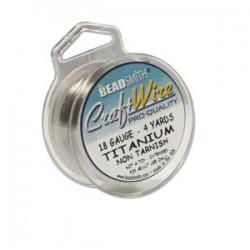 18ga Beadsmith Nickel Free Craft Wire - Titanium - 4yds