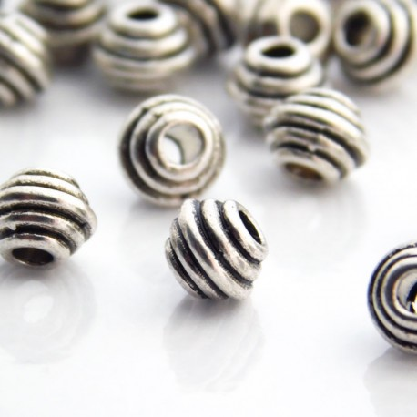 6.5mm Metal Bicone Beads Antique Silver Tone - Pack of 20