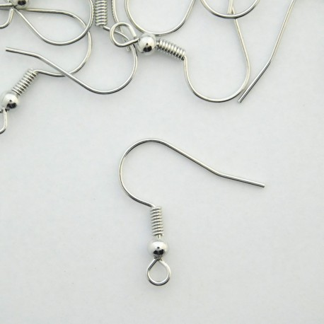 Silver Tone 18mm Earwires - 50 Pairs