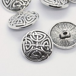17mm Celtic Knot Shank Buttons - Antique Silver Tone - Pack of 2