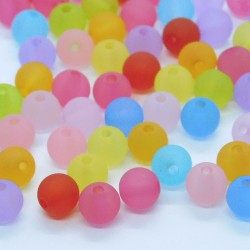 6mm Round Frosted Acrylic Beads - Mixed Colours - Pack of 100