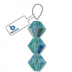 Preciosa 4mm Bicone Beads - Aqua AB - Pack of 31