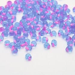 Miyuki 3.4mm Drop Beads - Electric Peach Lined Light Blue - 10g