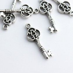 29mm Key Charms Antique Silver Tone - Pack of 5