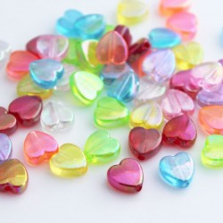 8.5mm Acrylic Heart Beads - Mixed Colour AB - Pack of 50
