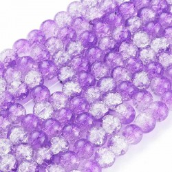 8mm Purple and Clear Crackle Beads - Pack of 50