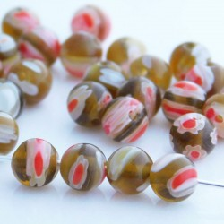 Millefiori 6mm Round Glass Beads - Amber - Pack of 30