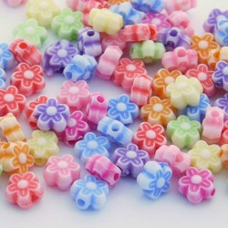 6.5mm Acrylic Flower Beads - Mixed Colours - Pack of 100