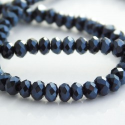 3mm x 4mm Crystal Glass Rondelles - Pearlised Black - 46cm strand
