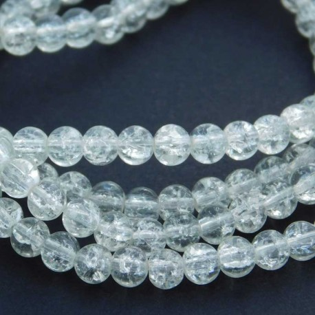 4mm Clear Glass Crackle Beads - 77cm strand