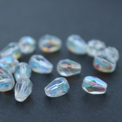 7mm Fire Polished Czech Glass Drops - Crystal AB - Pack of 20