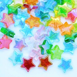10.5mm Acrylic Star Beads - Mixed Colour AB - Pack of 50