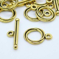 12.5mm Toggle Clasps - Antique Gold Tone - Pack of 5 sets