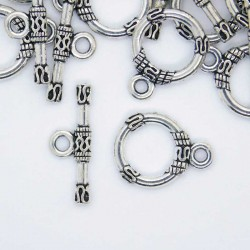 13mm Toggle Clasps - Antique Silver Tone - Pack of 5 sets