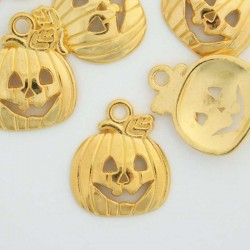 16mm Pumpkin Charm - Gold Plated - Pack of 8