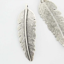 54mm Feather Pendant - Antique Silver Tone - Pack of 2