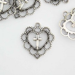 22mm Filigree Heart & Cross Charm - Antique Silver Tone - Pack of 6