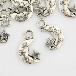 19mm Moon and Stars Charm - Antique Silver Tone - Pack of 8