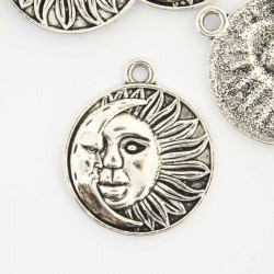 29mm Moon & Sun Charm - Antique Silver Tone - Pack of 2