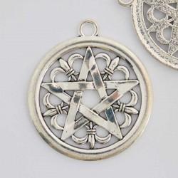 47mm Pentagram Pendant - Antique Silver Tone - Pack of 1