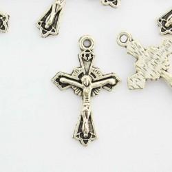 23mm Crucifix - Antique Silver Tone - Pack of 8