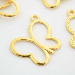 23mm Butterfly Charm - Gold Plated - Pack of 10