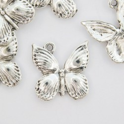 19mm Butterfly Charm - Antique Silver Tone - Pack of 5
