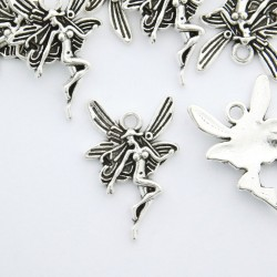 23mm Fairy Charm - Antique Silver Tone - Pack of 6