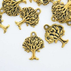 22mm Tree of Life Charm - Antique Gold Tone - Pack of 6