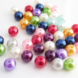 Faux Pearl Acrylic Beads 8mm Mixed Colours Round