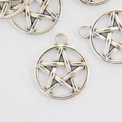 20mm Pentagram Charm - Antique Silver Tone - Pack of 6