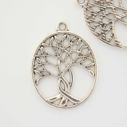 31mm Tree of Life Pendant - Antique Silver Tone - Pack of 1