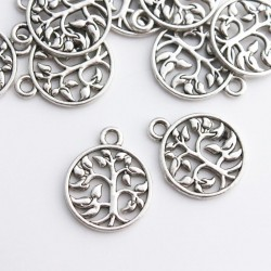 18mm Tree of Life Filigree Charm - Antique Silver Tone - Pack of 6