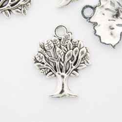 22mm Tree of Life Charm - Antique Silver Tone - Pack of 6