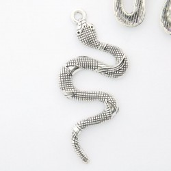 54mm Snake Pendant - Antique Silver Tone - Pack of 1