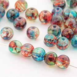 6mm Marbled Glass Beads - Clear Multicoloured - Pack of 60