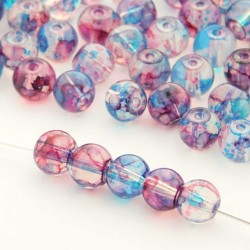 6mm Marbled Glass Beads - Clear Blue-Red - Pack of 60