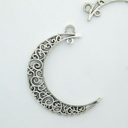 41mm Filigree Moon Pendant - Antique Silver Tone - Pack of 1