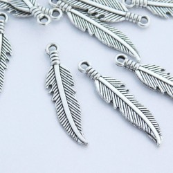 27mm Feather Charm - Antique Silver Tone - Pack of 8