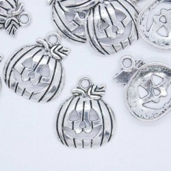 18mm Pumpkin Charm - Antique Silver Tone - Pack of 8