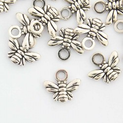 10mm Small Bee Charm - Antique Silver Tone - Pack of 1