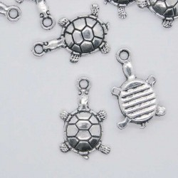 19mm Turtle Charm - Antique Silver Tone - Pack of 8