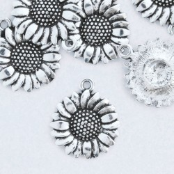 20mm Sunflower Charm - Antique Silver Tone - Pack of 1