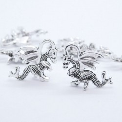 21mm Dragon Charm - Antique Silver Tone - Pack of 1