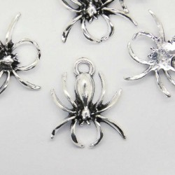 18mm Spider Charm - Antique Silver Tone - Pack of 1